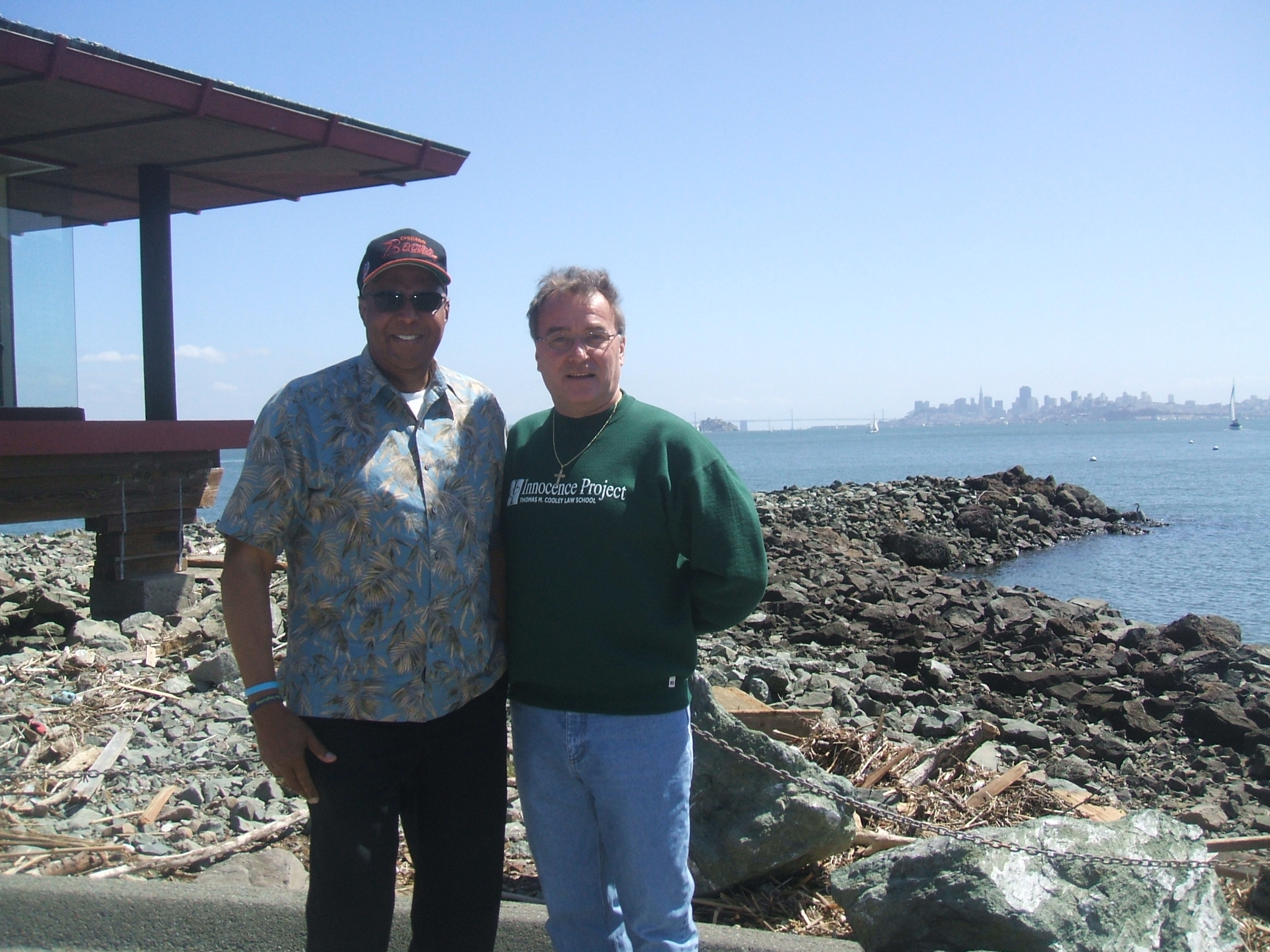 In San Jose 2008 Bill Proctor and Ken with Alcatraz Prison in the background